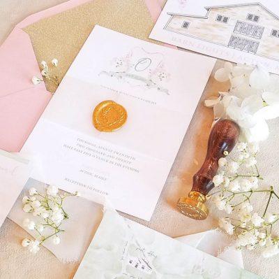 custom wedding invitation with wax seal