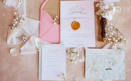 pink watercolor wedding invitation suite