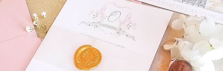 custom wedding invitation with wax seal