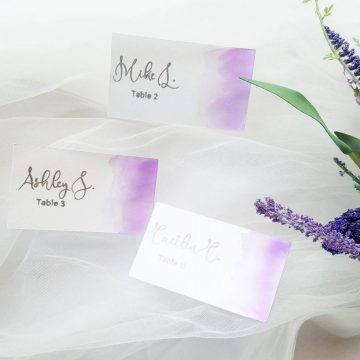 purple watercolor place cards escort cards
