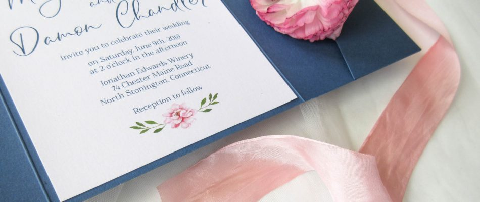 Blue and Pink Wedding Floral Invitation