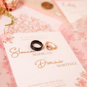 rose gold vellum wedding invitation
