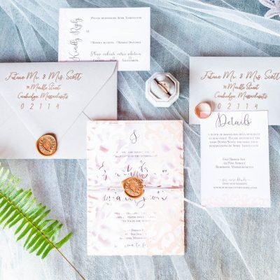 blush and grey wedding invitation gold wax seal lasercut