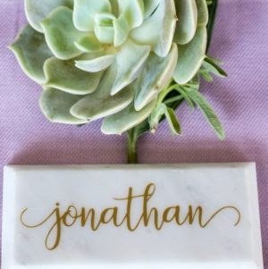 marble place card with gold