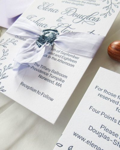 letterpress lavender and navy wedding invitation