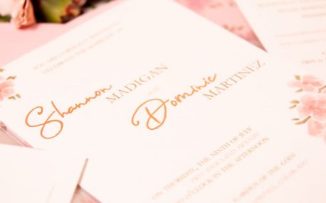 rose gold vellum wedding invitation
