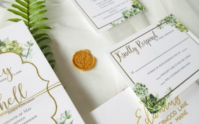 succulent and gold foil wedding invitation