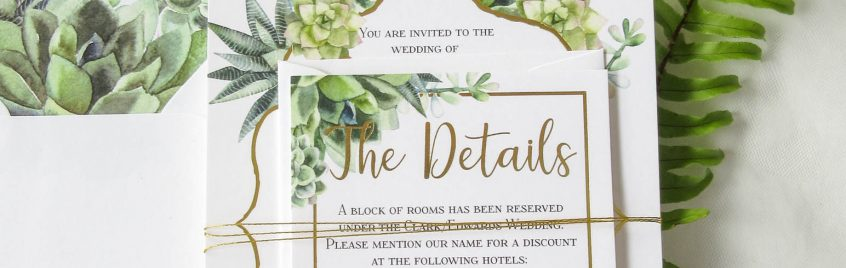 succulant wedding invitation detail cards