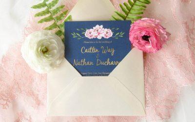 blue and pink wedding invitation