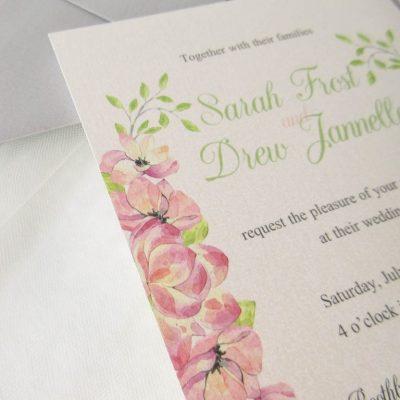 pink floral wedding invitation