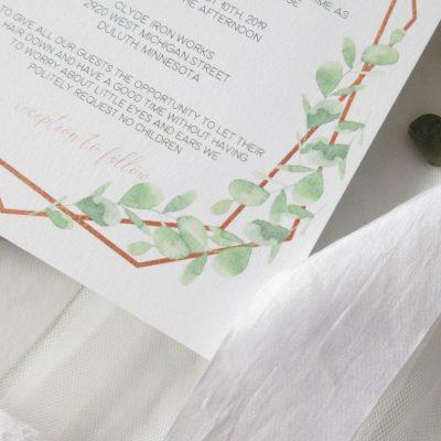 eucalyptus wedding invitation