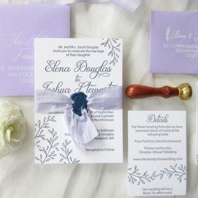 lavender and navy letterpress wedding suite