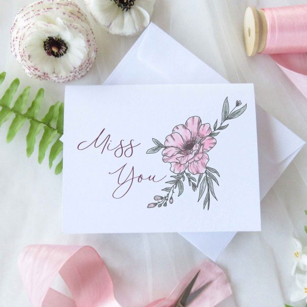 floral miss you cards