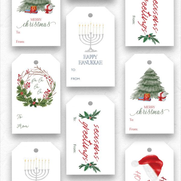holiday gift tags with ribbon