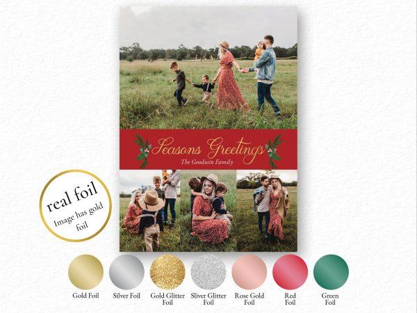 foil seasons greetings photo holiday card