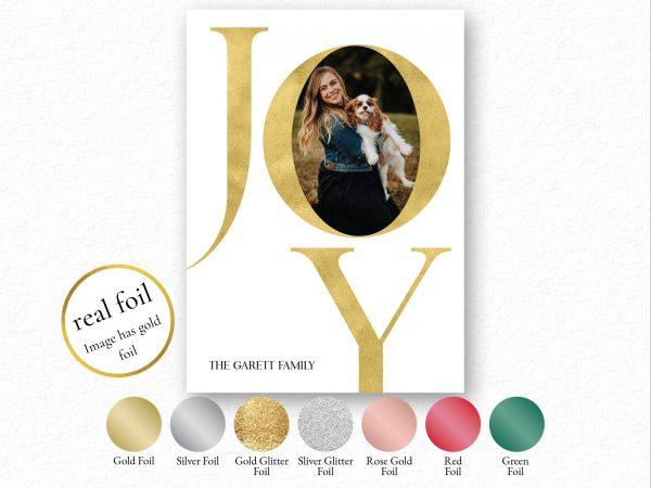 foil joy photo holiday card