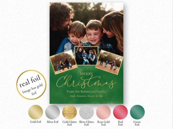 foil merry christmas photo holiday card