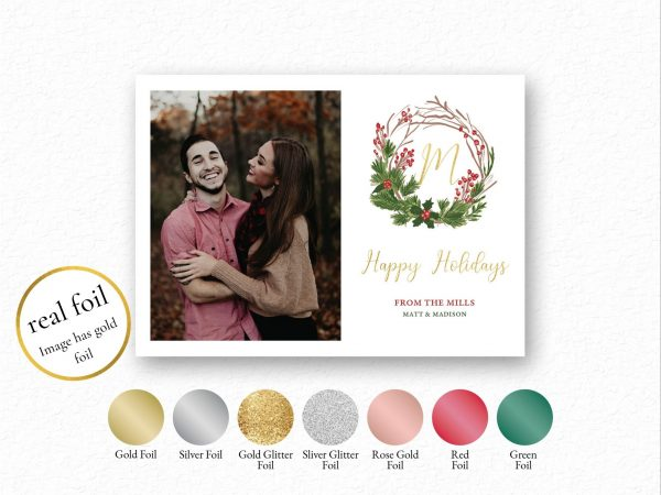 foil holiday wreath photo holiday card
