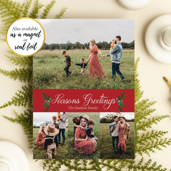season greetings family photo holiday card