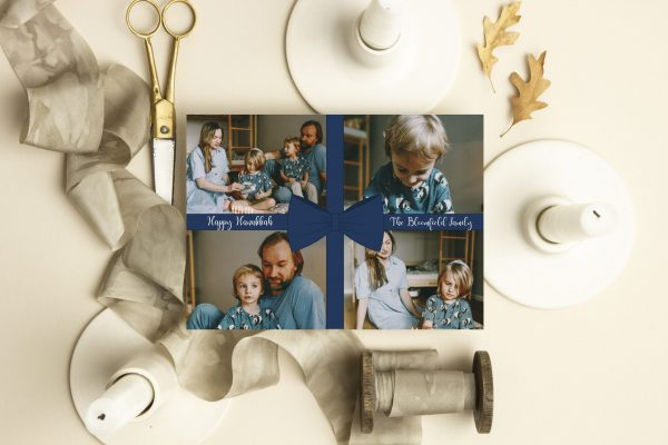 hanukkah blue bow holiday card