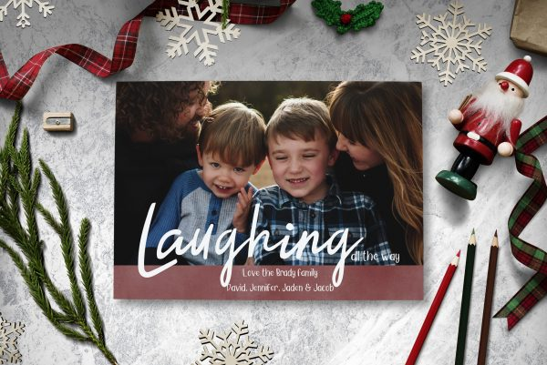 laughing all the way christmas holiday photo card