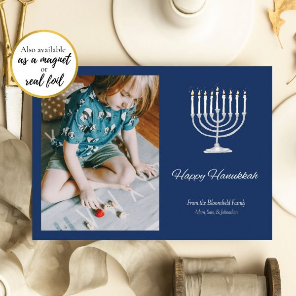 photo holiday card menorah