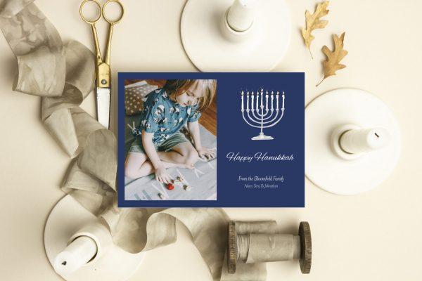 photo holiday card menorah