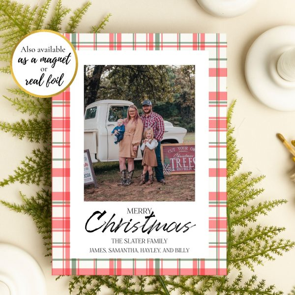 holiday plaid merry christmas card