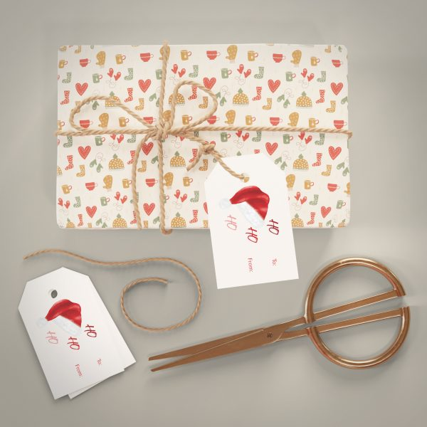 santa hat holiday gift tag