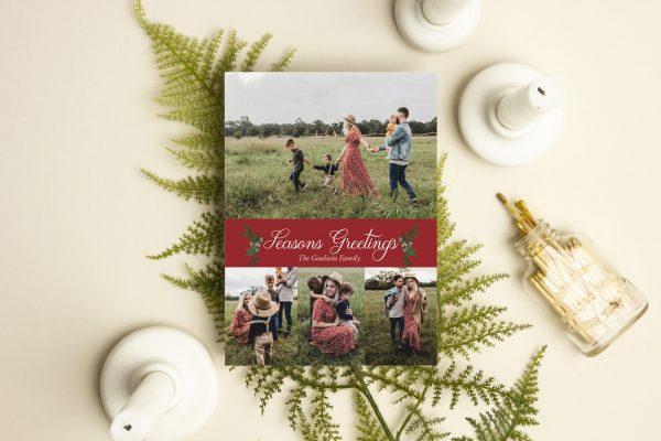 season greetings family photo holiday card