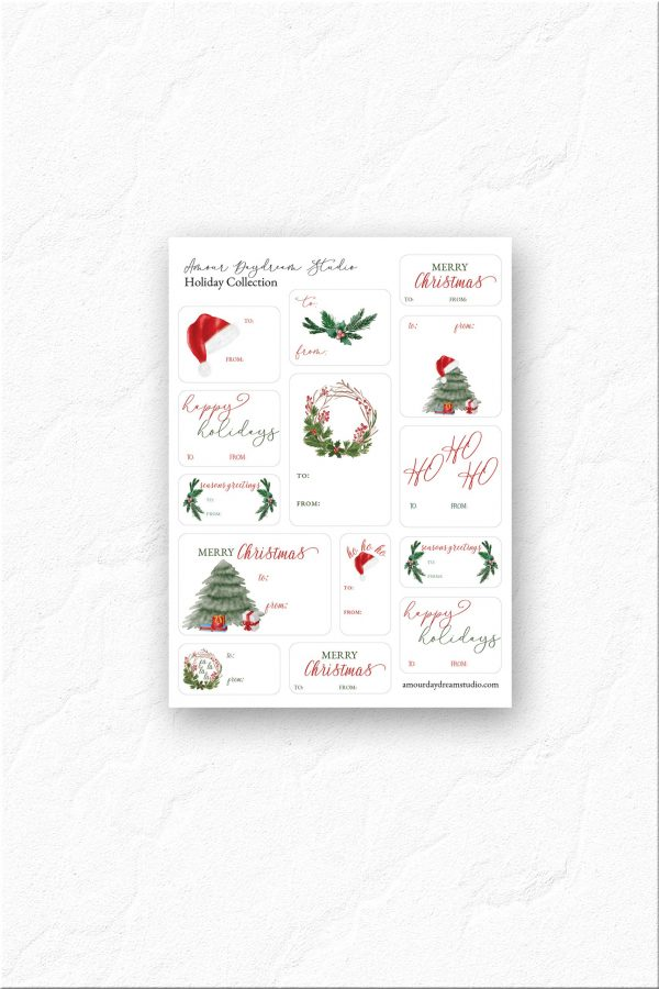 Christmas Sticker gift tag sheet
