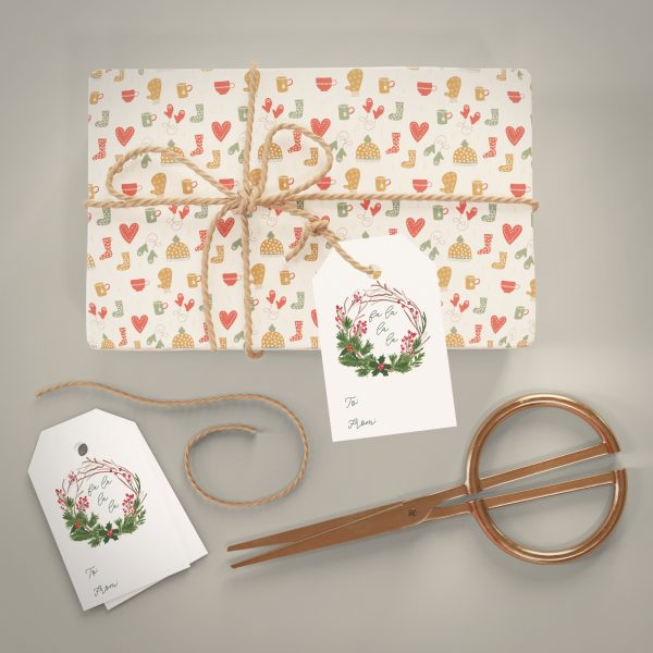wreath holiday gift tag