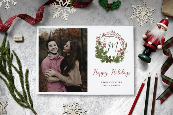 christmas wreath holiday photo cards