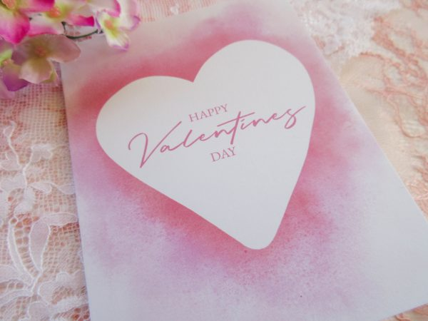 Happy valentines day watercolor heart close up