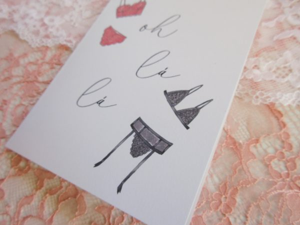 oh la la lingerie illustrated valentines day card to spouse close up