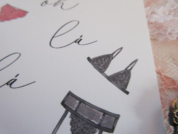 oh la la lingerie illustrated valentines day card to spouse close up of black lingerie sketch