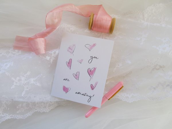 you are amazing pink sketchy hearts valentines day card