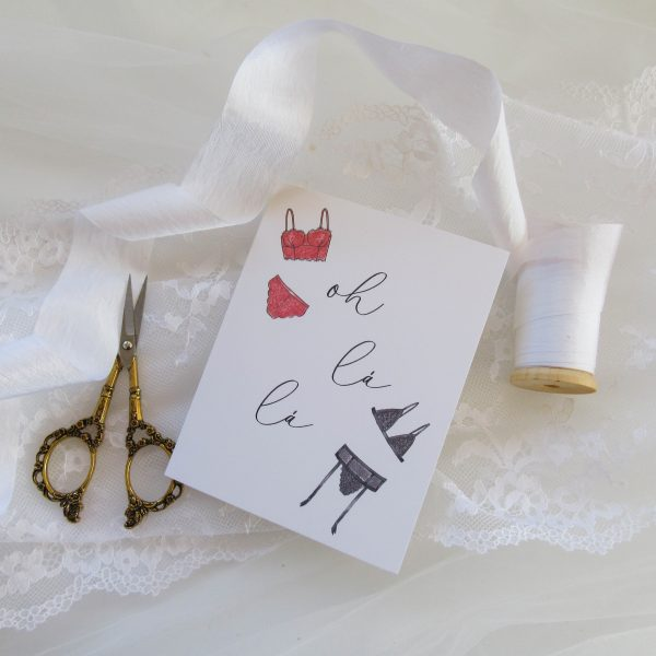 oh la la lingerie illustrated valentines day card to spouse