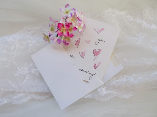 you are amazing pink sketchy hearts valentines day card with envelope