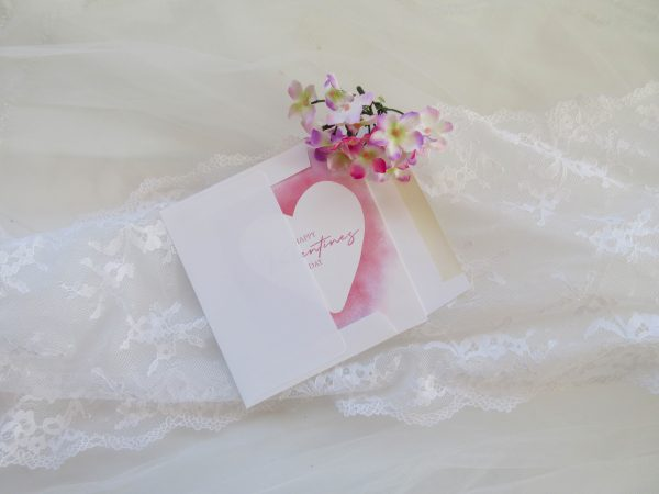 Happy valentines day watercolor heart and white envelope