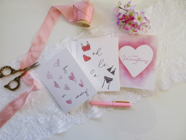 3 valentines day cards lingerie card watercolor heart you are amazing