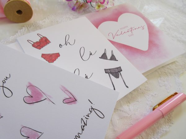 3 valentines day cards lingerie card watercolor heart you are amazing close up