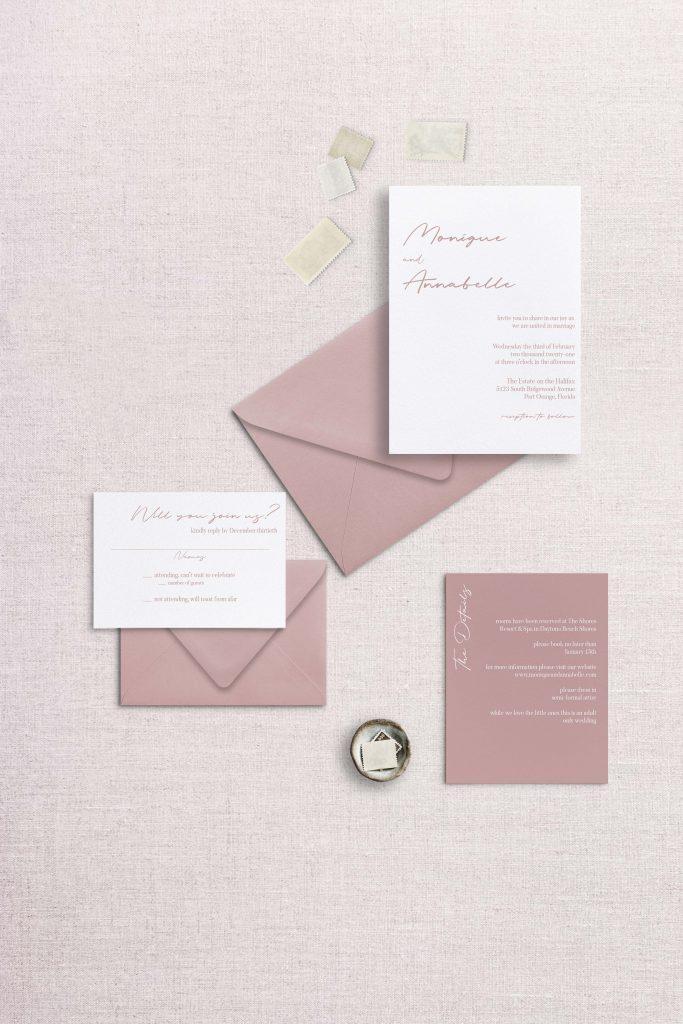 Modern simple minimalist wedding invitationdusty rose