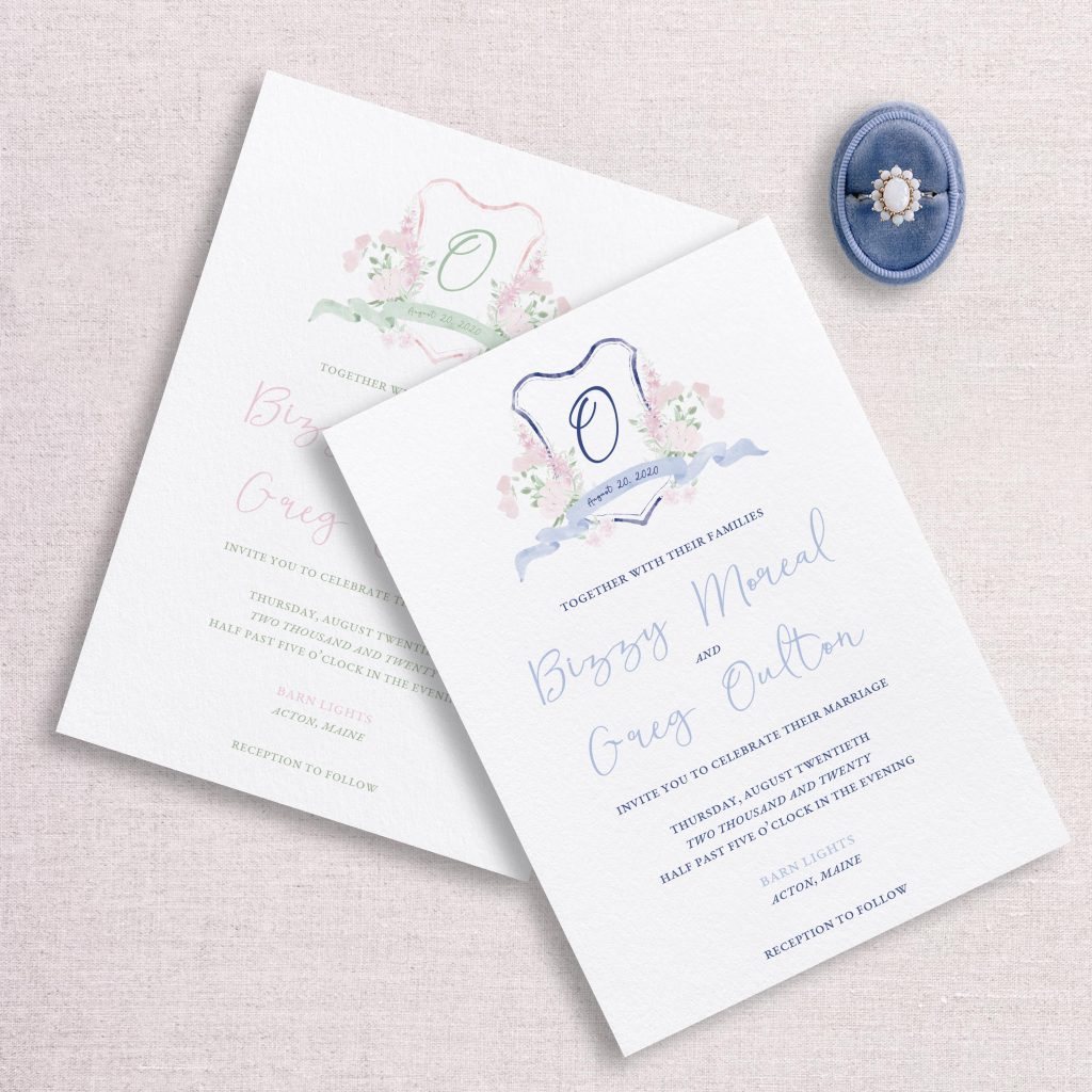 watercolor wedding crest wedding invitation suite custom color