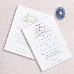 watercolor wedding crest wedding invitation suite custom color
