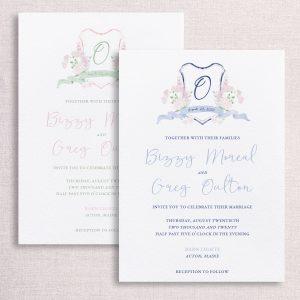 watercolor wedding crest wedding custom color