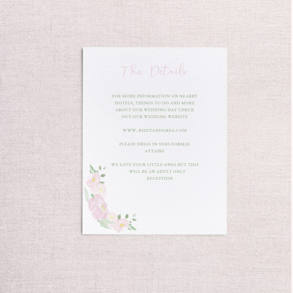 watercolor wedding crest wedding detail card