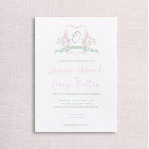 watercolor wedding crest wedding invitation