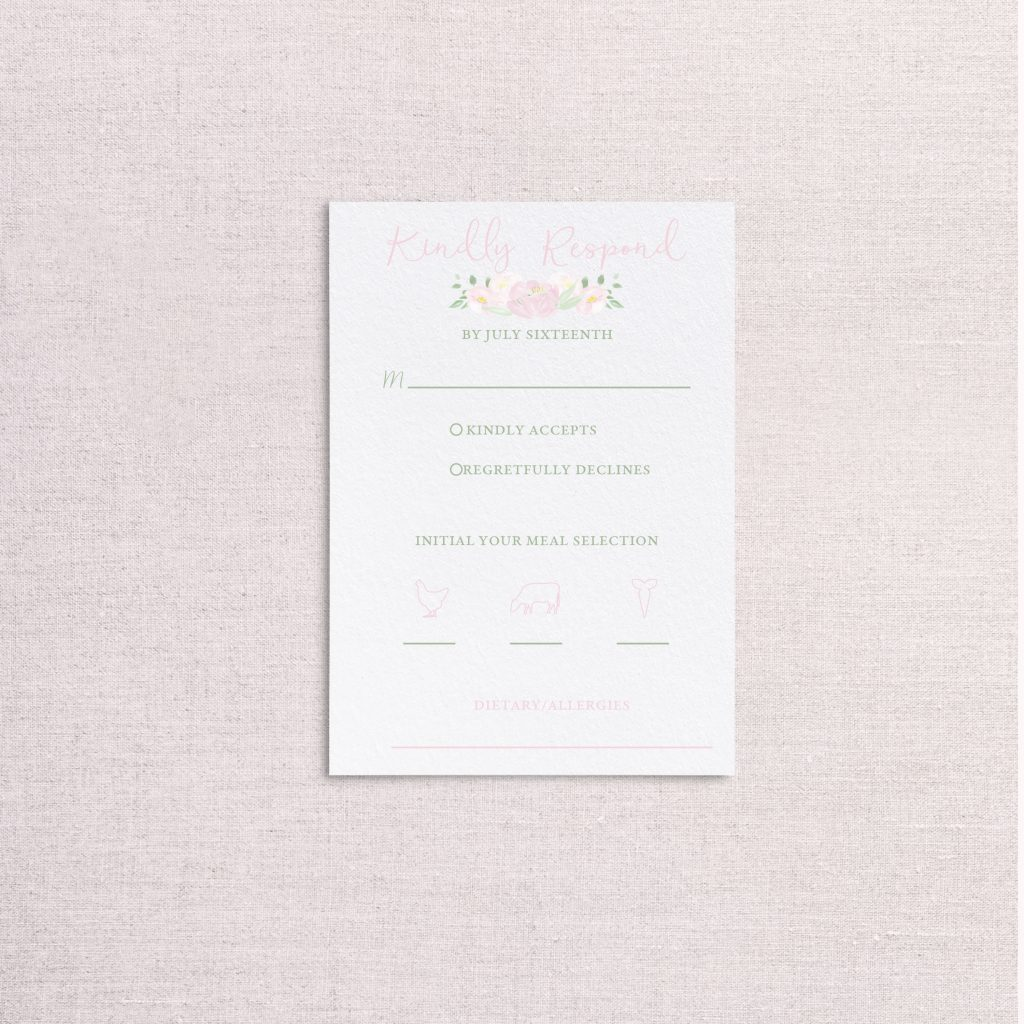 watercolor wedding crest wedding rsvp card