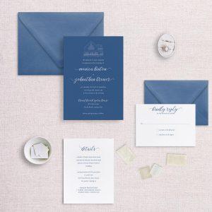 modern venue illustration wedding invitation wedding blue and white